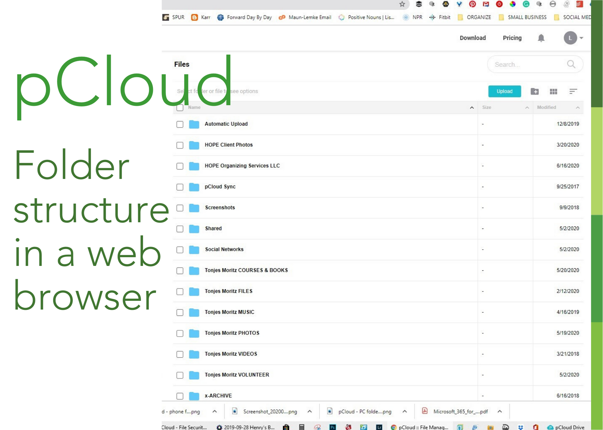 pcloud in a web browser